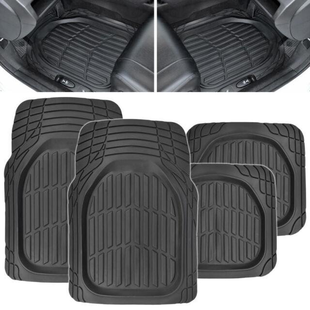 4pc Universal Car Suv Rubber Floor Mats Diy Flexible Trim Front
