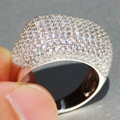 New White Sapphire 925 Silver Filled Wedding Princess Bridal Flower Ring Jewelry