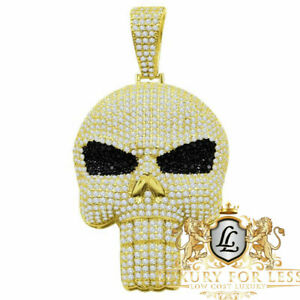 14K Yellow Gold Sterling Silver Simulated Diamond Skull Brain Pain Pendent Charm