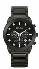 Bulova Men's 98D123 Diamond Dial Chronograph Quartz Black Stainless Steel Watch