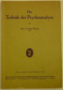 Details About 1926 Fritz Wittels Die Technik Der Psychoanalyse Sigmund Freud Psychoanalysis