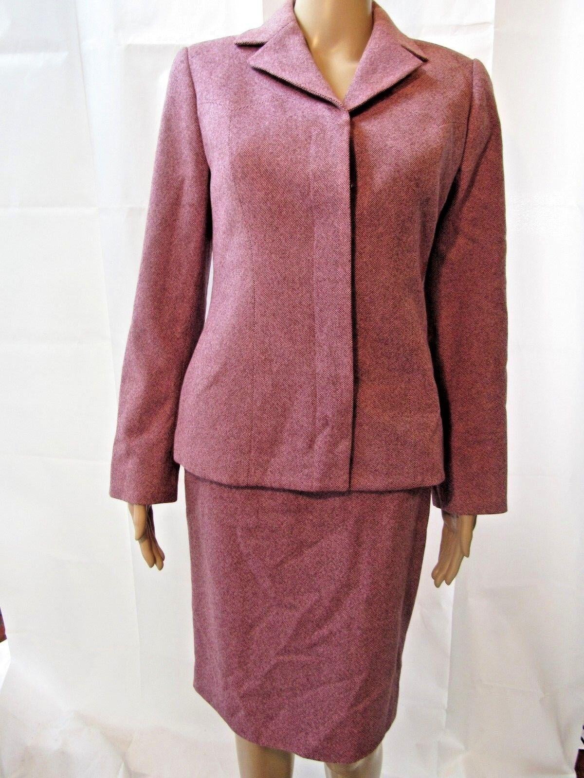 Carolina Herrera Burgundy  Pink Skirt Suit  Sz 8-6