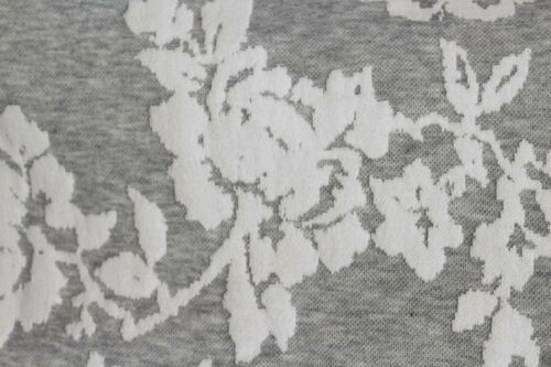 Pale Grey Splodge Floral Print Cotton Sports Type Jersey Dress Fabric Material
