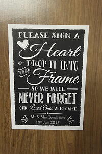 Image Is Loading Wedding Drop Box Guest Book Instructions Personalised Vintage