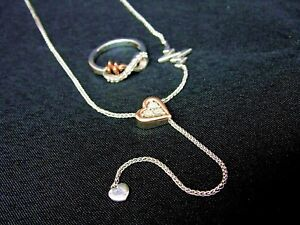488f5ec08b5e9 Details about Diamond Heartbeat Lariat Necklace w/ Infinity Ring Sterling  Silver Rose Gold