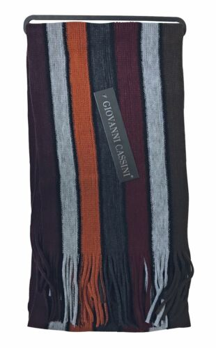 Mens Giovanni Cassini Luxury warm knitted winter Stripes Scarf scarves 6 cols