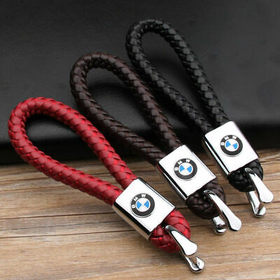 Hot Braided Leather Car Logo KeyChain Weave Strap Rope Keyring Holder Key Fobs