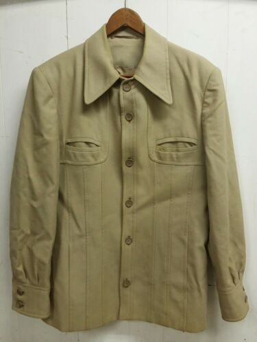 Vintage 1970's Virany Men's Tan Wool Button Front