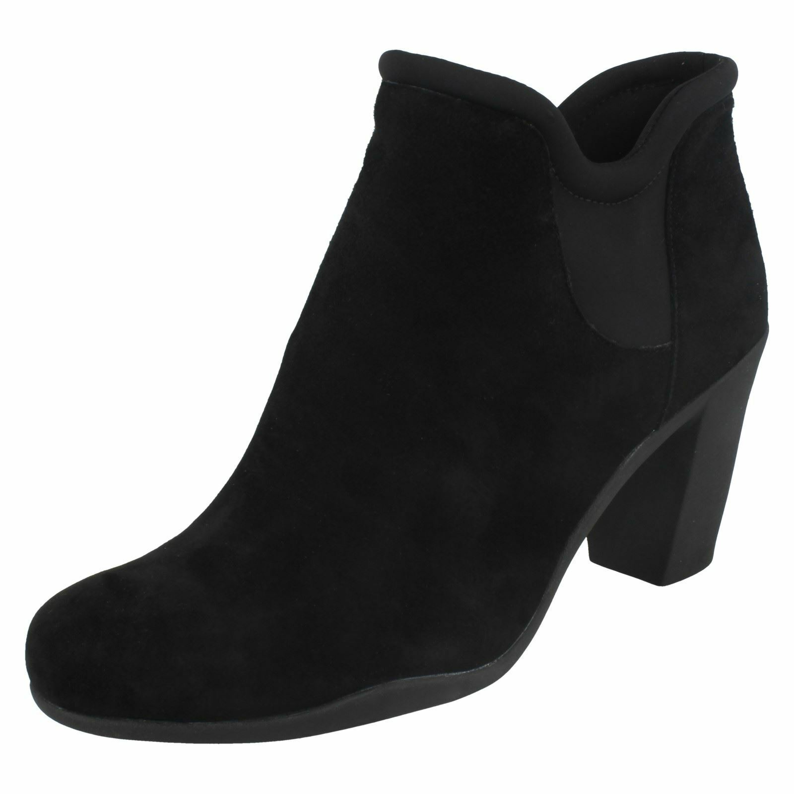 LADIES CLARKS LEATHER PULL ON HEELED SMART SUEDE ANKLE Stiefel ADYA BELLA Größe  | Export