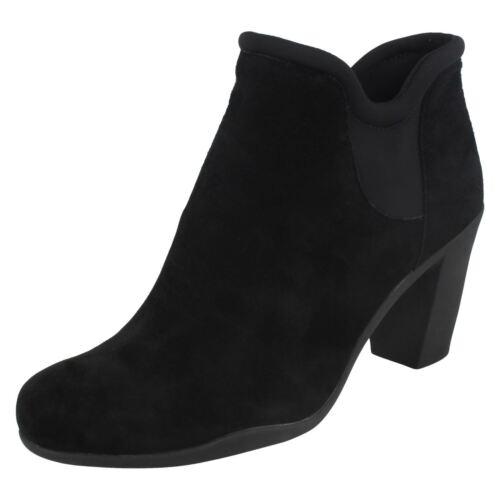en de tamaño gamuza de Señoras elegante cuero Adya Clarks botines negro Bella de tirar tacón aqUHUnWI
