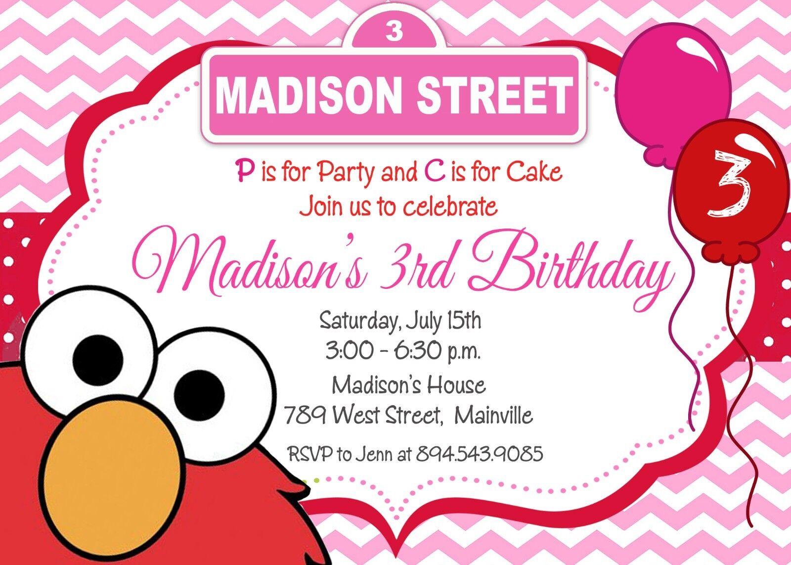 Elmo Rosa Girl Sesame Street Elmo Party Invitation Birthday