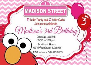 Image Is Loading Elmo Pink Girl Sesame Street Invitation Birthday