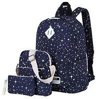 Canvas Backpack Set Cute School Backpack Casual Bookbags For Teen Girls