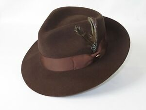 Mens-Bruno-Capelo-Dress-Hat-Australian-Wool-Fedora-Tear-Drop-Feather-Fabio-Brown