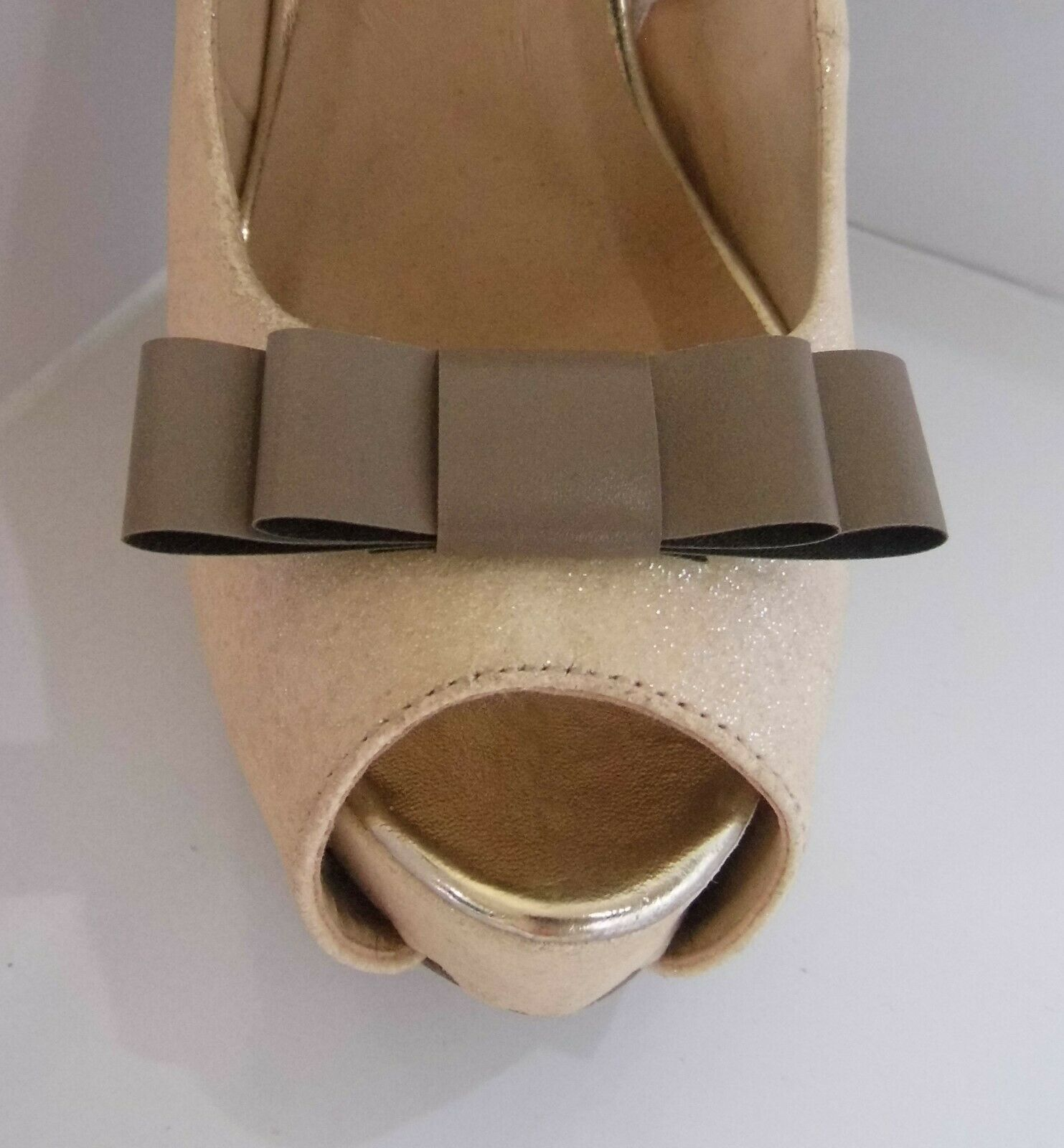 2 Tan Faux Patent Double Bow Clips for Shoes