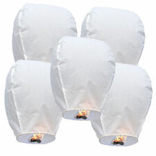 (100) White Paper Chinese Lanterns Sky Fly Candle Lamp for Wish Party Wedding