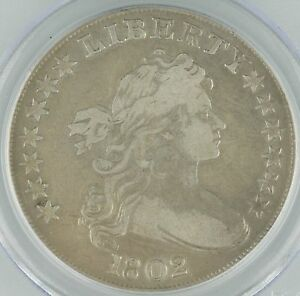 1802 US Draped Bust Dollar $1 Graded by PCGS Genuine, Narrow Normal Date KM#32