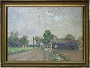 Impressionist-Frederik-Long-1870-1941-034-Village-Street-034-Danish-Landscape-Painter