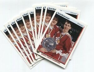 1990-91-Upper-Deck-World-Junior-Rookie-Card-Scott-Niedermayer-Lot-of-10-French