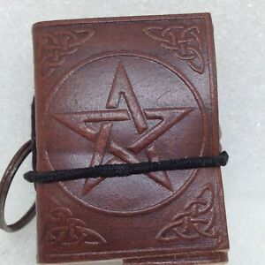Mini-Leather-Journal-Book-of-Shadows-on-Keychain-Embossed-Pentacle-Wicca