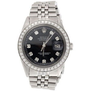 Mens Rolex 36mm DateJust 16014 Diamond Watch Jubilee Band Glossy Black Dial 2 CT