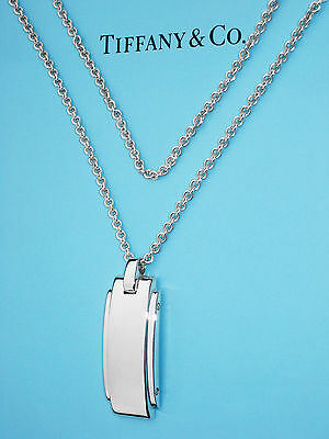 Tiffany & Co Sterling Silver Mens Metropolis Tag 24 Inch Necklace