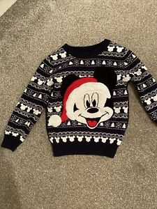 Boys-DISNEY-MICKEY-MOUSE-Christmas-Jumper-Age-2-3-Years-Xmas-Top-Nordic