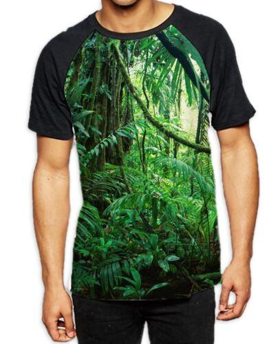 Tropical Jungle Forest Men/'s All Over Baseball T Shirt Summer Wild Trees