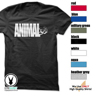 ANIMAL-T-Shirt-Workout-Gym-BodyBuilding-Fitness-Motivation-WeightLifting-C544