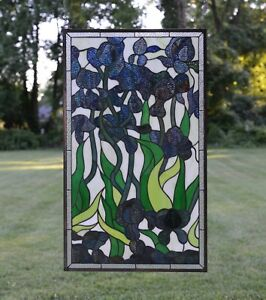 """20/"""" x 34/"""" Handcrafted Decorative Handcrafted stained glass window panel Iris"""