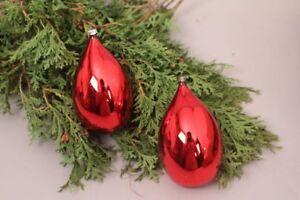 Christbaumschmuck Weihnachtskugeln Alt Glas Rot Glanzend Tropfen