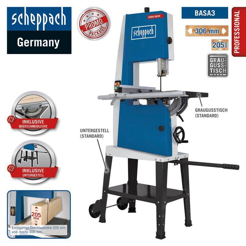 Scheppach Bandsäge BASA3 Professional 400 V mit Querschneidlehre & Fahrwerk