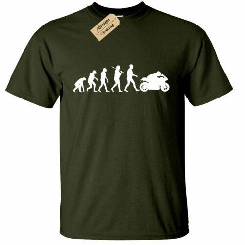 Mens Evolution Of Biker T Shirt Motorbike rider bike motorcycle tee