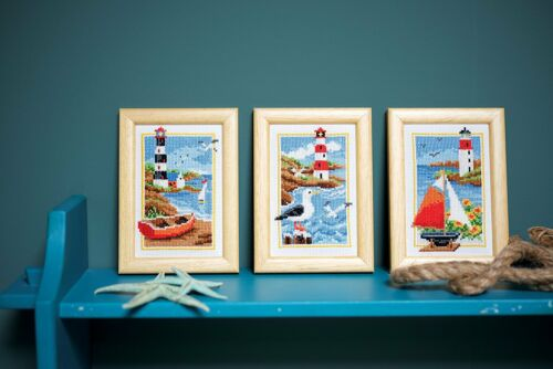 VERVACO MINITURES LIGHTHOUSE SET OF 3  COUNTED CROSS STITCH KITS BOAT SEAGULL