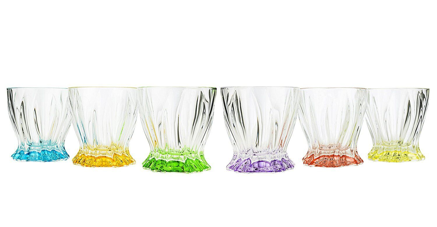 Aurum 9 Oz Classic Whisky Scotch Glasses with Multi colord Base 6-Piece Set