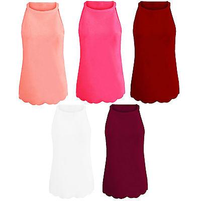 Womens Ladies Scallop Edge Hem Halterneck Cami Vest Top Sleeveless Crepe Plain