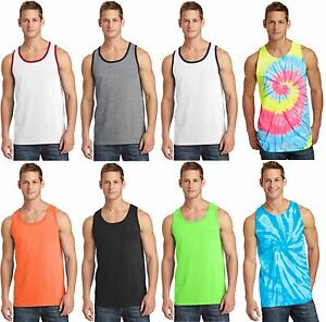 New-Men-039-s-Tank-Top-Muscle-Workout-T-Shirt-Tie-Dye-Dyed-Died-Two-Tone-Sleeveless
