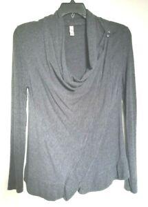 alo yoga charcoal gray 2 way wrap cardigan sweater drape