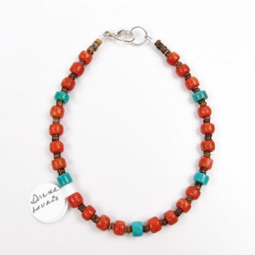 Native American Santo Domingo Irene Lovato Coral Turquoise Nugget Bracelet