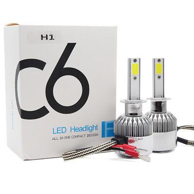 1 Pair C6 H1 200W 20000LM COB Car LED Headlight Bulbs Conversion Kit 6000K White