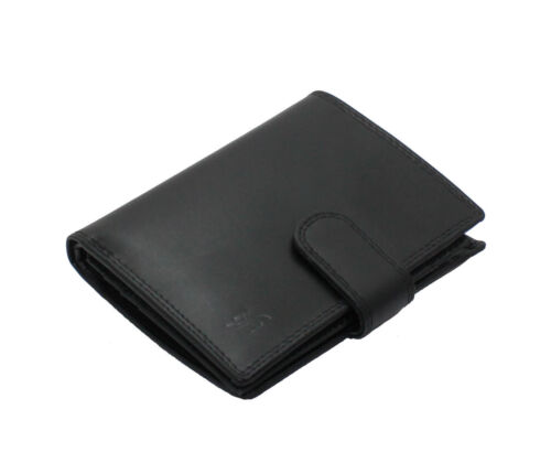 Starhide Mens RFID Black Real Leather Trifold Wallet Coin Purse Gift Boxed 1085
