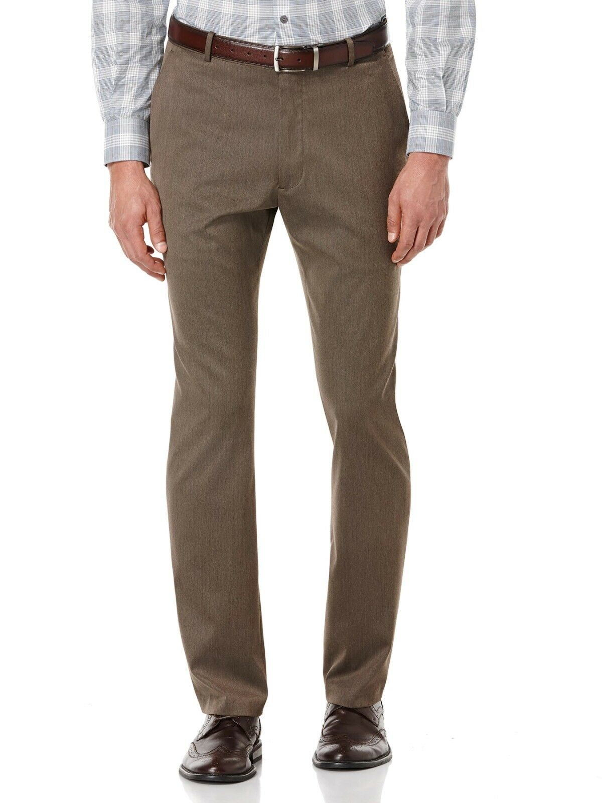 PERRY ELLIS PORTFOLIO MEN BROWN FLAT FRONT SLIM FIT DRESS PANTS 30 W 30 L