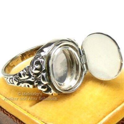 Art Déco Geheimfach Siegelring - Antiker Herren Ring Mit Medaillon 830er Silber Dauerhafte Modellierung