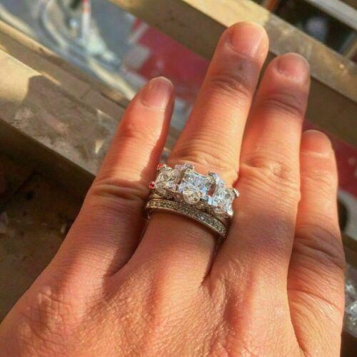 3.50Ct Princess-Cut Diamond Bridal Set Engagement Ring 14k White Gold Finish