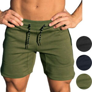 Mens-Gym-Shorts-Bodybuilding-Sports-Training-Fitness-Workout-Cotton-Trousers-CH