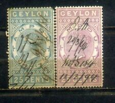Ceylon 2 QV Old Revenue Stamp Duty