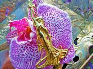Ancienne Broche  Femme Dorure Art Nouveau France Antique antique brooch Femme gi