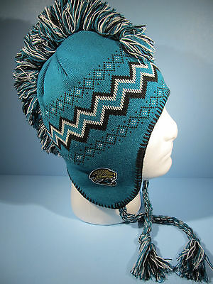 Jacksonville Jaguars NFL Mohawk Tassel Knit Winter Hat Team Apparel Youth NWT
