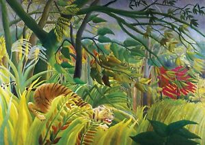 Henri-Rousseau-Surprised-A3-size-Deco-Canvas-Art-Print-Poster-Unframed