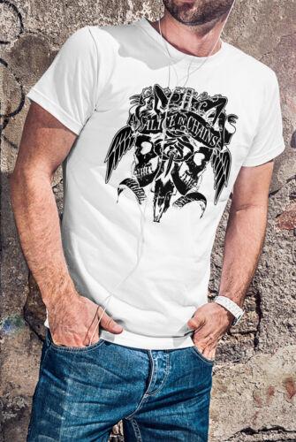 Alice in Chains crânes hommes T-shirt Blanc Rock Band Tee-shirt Grunge Shirt